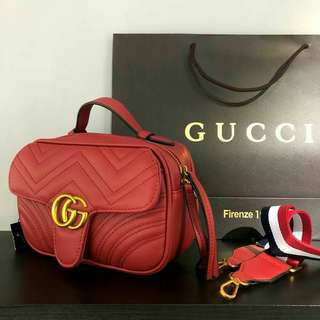 Gucci GG Marmont With Shoulder Strap Red