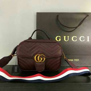 Gucci GG Marmont With Shoulder Strap Maroon