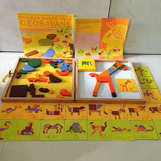 Magnetic Geometry Shape Puzzles with Wooden Board