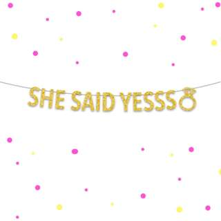 She Said Yesss Banner, Proposal Banner, Party Backdrop, Garland, Wedding Party, Proposal Party, Engagement Party, Celebration, Text Banner