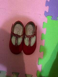紅色亮片兒童娃娃鞋