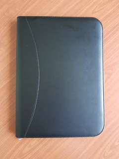 Folder A4 Zipper (Leather Black Synthetic)