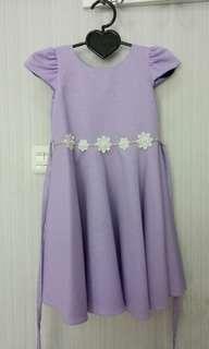 Simple purple dress kids / dress anak