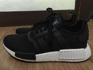 Adidas nmd r1 J black womens/ used once only/ 💯 authentic money back guarantee! Bought from US
