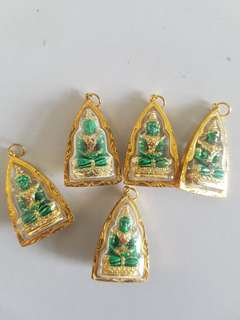 Rare Thai Emerald Amulet 90% Gold Casing