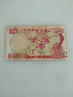 Singapore old currency $10 orchid series note