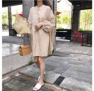 Loose fitting Summer long sleeve loose thin cotton and linen dress