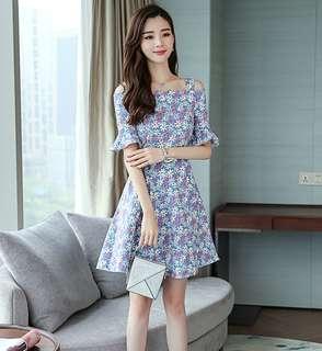 (S - XL) Cold Shoulder Dress