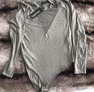 Tall sala mesh insert plunge bodysuit