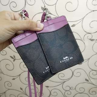 Authentic Coach ID Lanyard Signature Brown Azalea Readystock