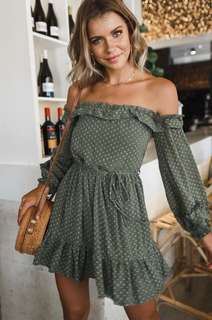 Green polka dots off shoulder ruffle Dress