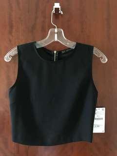 Zara - Black Crop Sleeveless Top w/ Back Zip