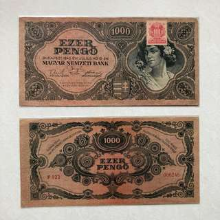 Banknote - Hungary 1945 - Budapest 1000 Pengo (Each is $11 or both for $20)