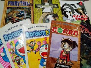 Assorted Manga titles, Death Note, Fairy Tail, Doraemon, Silverspoon, Tomo, Detective Conan.
