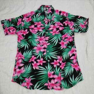 Mens Full Button Down Polo Black Pink Floral Summer Hawaiian