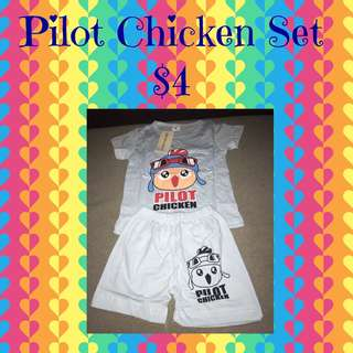 Pilot Chicken T-Shirts & Pants Set