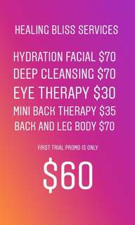 First trial 1hr 30mins Facial/back for female only