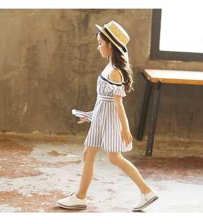 🚚 預購「110-160中大女童條紋挖肩洋裝童裝」