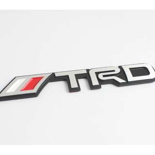 3D TRD Metal Silver Badge Emblem with Black Background Logo for Toyota Car Decor