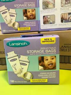 🌈(Ready Stock) 🆕Brand New in Pack Sealed Lansinoh Breastmilk Storage Bags, 100 Count, BPA Free and BPS Free