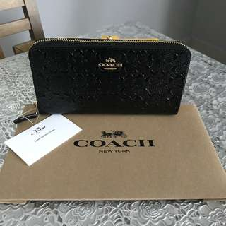 Coach Signature Debossed Patent Accordion Zip Wallet