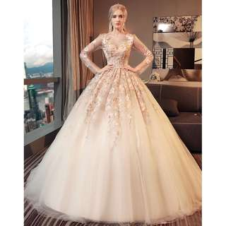 Wedding Collection - Embroidered Petals Design Long Lace Sleeves Puffy Long Tail Wedding Gown