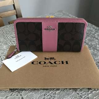 Coach Signature PVC Leather Accordion Zip Wallet