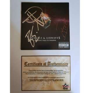 """ANGELS & AIRWAVES Signed """"WE DON'T NEED TO WHISPER"""" CD BOOKLET COA Proof Pic"""