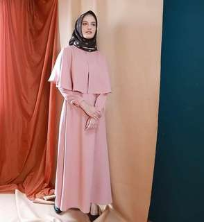 Maxi Dress Gamis Casual Rompi Peach