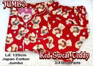 Piyama Short Pants Jumbo Katun Jepang Red Sweat Teddy