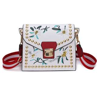 White Floral Embroidered Sling Bag