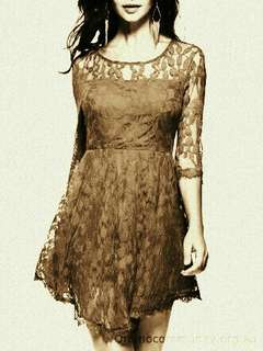 Brown Lace Short Dress with Actual Photo