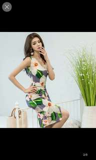 Floral long sexy dress