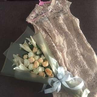 Dress kondangan nude solemio
