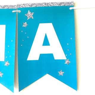 Name birthday banner / Bunting in tiffany blue and sliver glittery star