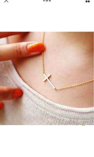 Simple Chain Cross Necklace Gold Pendant