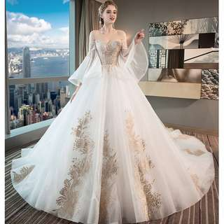 Wedding Collection - Classic Off Shoulder Lotus Sleeves Golden Embroidered Design Long Tail Wedding Gown