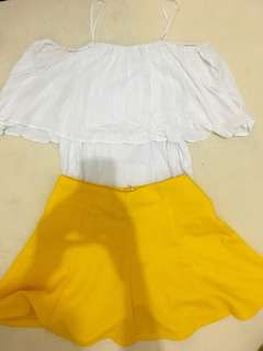 1 Set Pull and bear top and yellow skirt