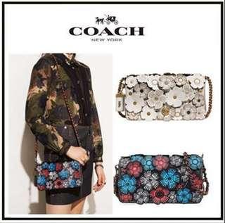 COACH 38197 TEA ROSE DINKY 玫瑰立體貼花皮革斜背包 多色可選 附手提袋