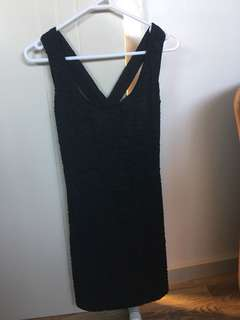 BNWT black fitted dress with crossover straps