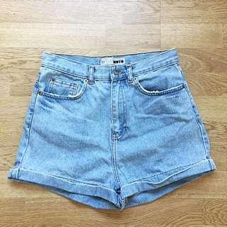 Topshop Bleached Highwaisted Denim Shorts