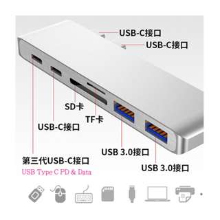 Dual USB Type C to HDMI + USB 3.0 + Card Reader + PD hub 轉換器
