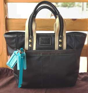 Authentic Coach Hampton Sateen Black Teal/Turquoise Mini Tote