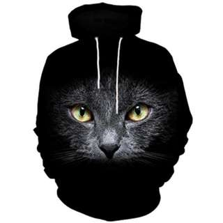 3D Cat Face Print Kangaroo Pocket Hoodie (Black)