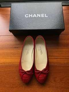 Chanel 經典芭蕾舞鞋36.5 娃娃平底鞋 圓頭