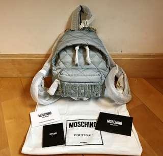 Moschino backpack 背包 (粉藍一金珠字粒)