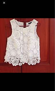 Topshop lace white top
