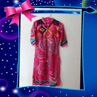 Tunik India pink elektrik