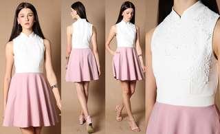 Bn Sherley Cheongsam Colorblock Dress in White S