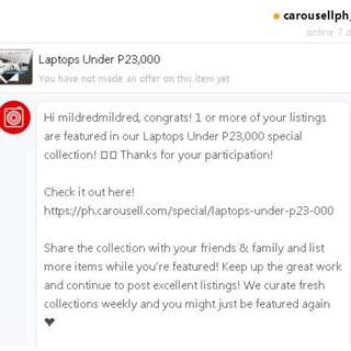THANKS FOR FEATURING MY ITEM CAROUSELL